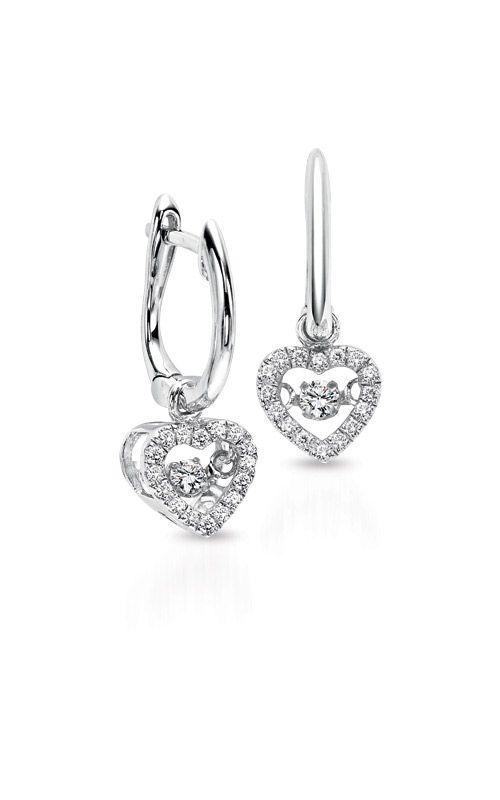 Rhythm of Love 10k White Gold 1/5ctw Diamond Heart Earrings ROL1022 product image