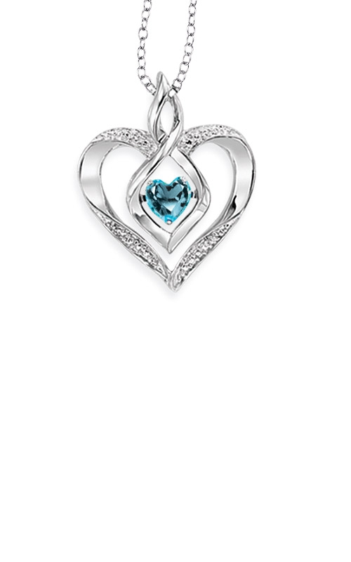 Rhythm of Love Sterling Silver Blue Topaz Heart Pendant ROL1165A product image