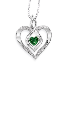 Rhythm of Love Sterling Silver Emerald Heart Pendant ROL1165E product image
