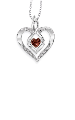 Rhythm of Love Sterling Silver Garnet Heart Pendant ROL1165G product image