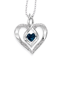 Rhythm Of Love Sterling Silver Blue Sapphire Heart Pendant ROL1165S product image