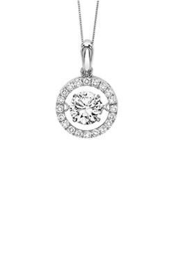 Rhythm of Love 14k White Gold 1ctw Round Diamond Halo Pendant ROL1040 product image