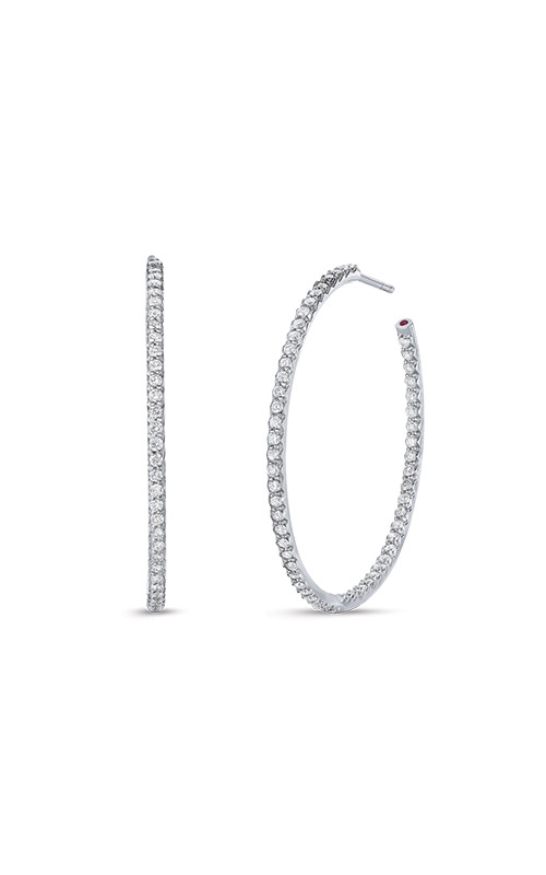 Roberto Coin 18k White Gold 1.10ctw Diamond Hoops 000601AWERX0 product image