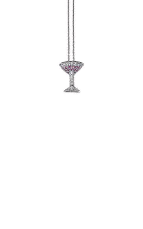 Roberto Coin 18kt White Gold Martini Pendant With Pink Sapphires And Diamonds 001231AWCHS9 product image
