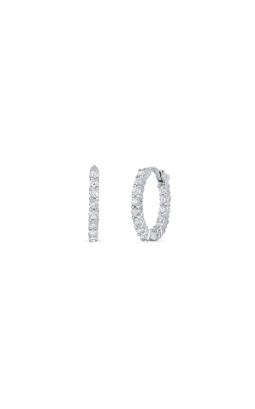 Roberto Coin 18kt White Gold Petite Inside Outside Diamond Hoop Earrings 001447AWERX0 product image