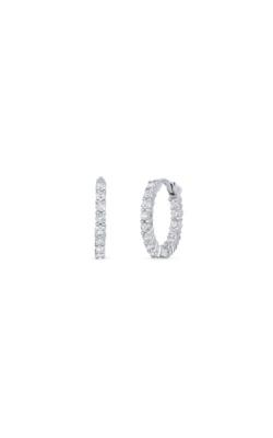 Roberto Coin 18kt White Gold Petite Inside Outside Diamond Hoop Earrings 001447AWERX0 product image