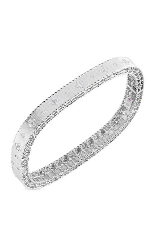 Roberto Coin 18kt Gold Satin Finish Slim Bangle With Fleur De Lis Diamonds 7771211AWBAX product image