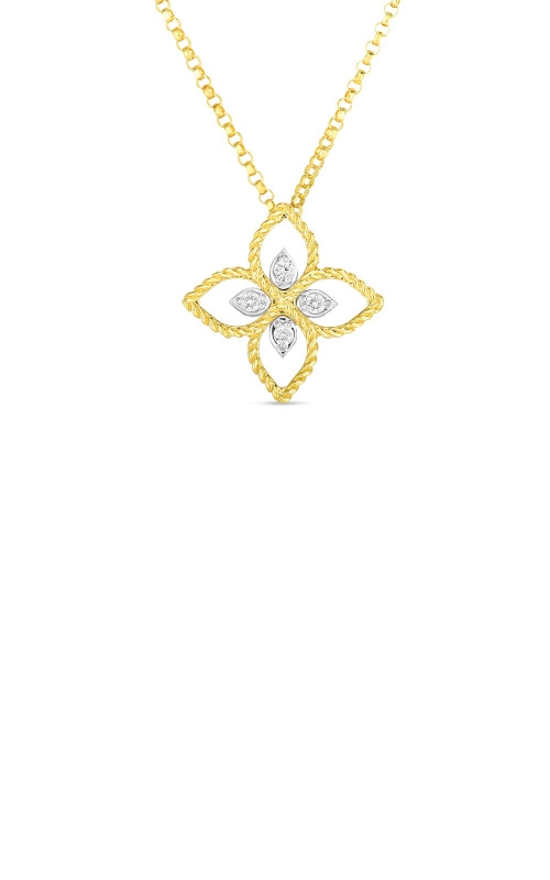 Roberto Coin 18k White and Yellow Principessa Small Flower Pendant With Diamond 7772717AJ17X product image