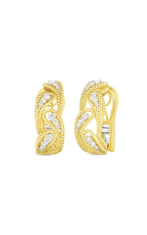 Roberto Coin 18k Yellow Gold .39ctw Diamond Byzantine Barocco Alternating Leaf Earrings 7772781AJERX product image