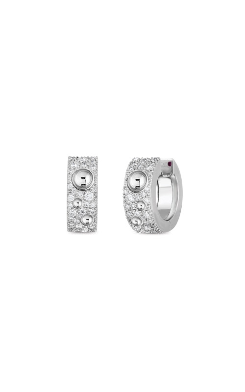 Roberto Coin 18k White Gold & Pave Diamond Pois Moi Luna Small Hoop Earring 8882509AWERX product image