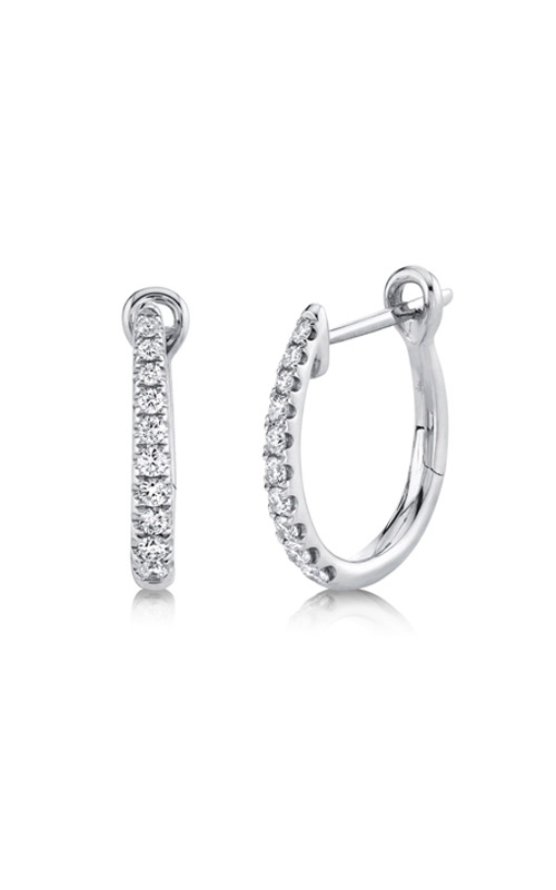 Shy Creation 14k White Gold .25ctw Diamond Hoop Earrings SC22005487 product image