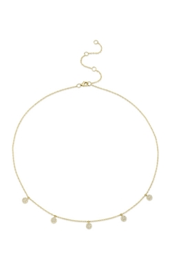 Shy Creation 14k Yellow Gold .22ctw Diamond Pave Circle Necklace SC55002074 product image
