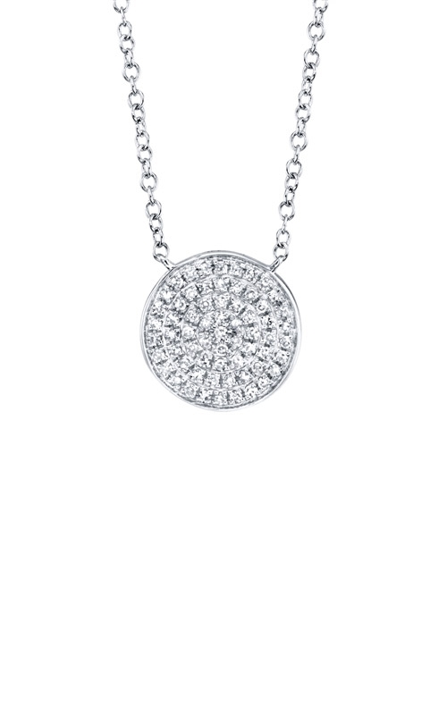 Shy Creation 14k White Gold .15ctw Diamond Pave Circle Necklace SC55002398 product image