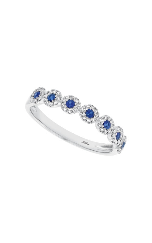 Shy Creation 14k White Gold .16ctw Diamond and Blue Sapphire Band SC55002662 product image