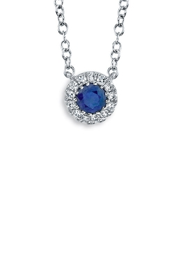 Shy Creation 14k White Gold .04ctw Halo Diamond And Sapphire Necklace SC55002751 product image