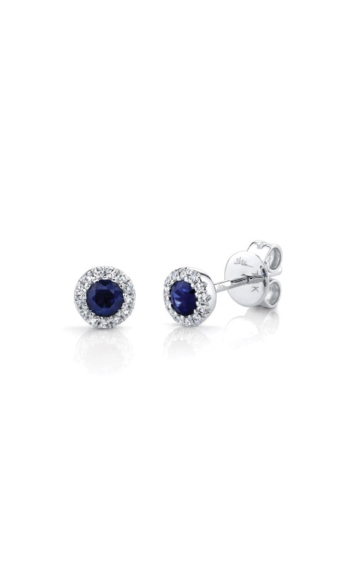 Shy Creation 14k White Gold .36ctw Blue Sapphire and Diamond Earrings SC55002752 product image