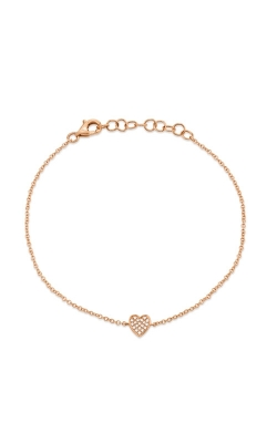 Shy Creation 14k Rose Gold Pave Heart Bracelet SC55002978 product image