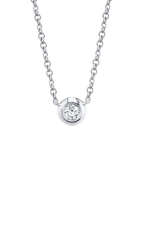 Shy Creation 14k White Gold .05ctw Diamond Bezel Necklace SC55003228 product image