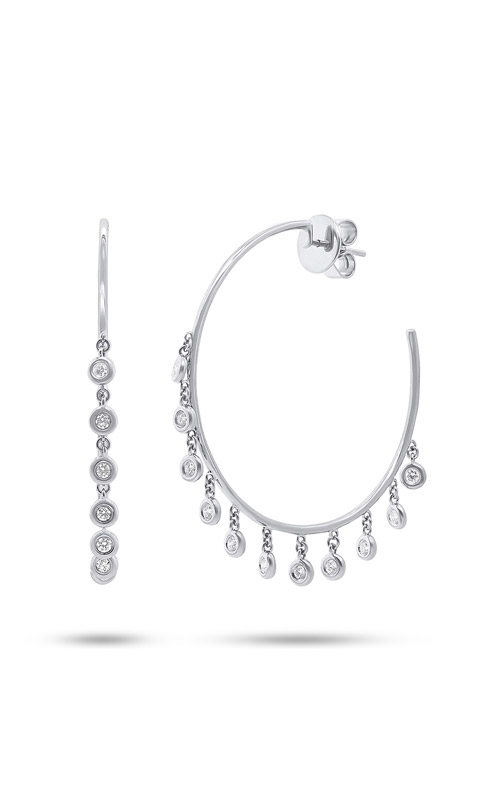 Shy Creation 14k White Gold 0.65ct Diamond Shaker Hoop Earring SC55004719  product image
