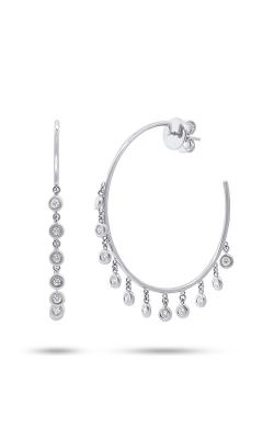 Shy Creation 14k White Gold 0.65ct Diamond Shaker Hoop Earring SC55004719  product image
