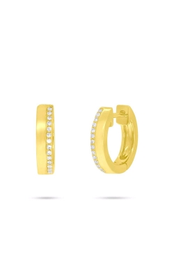 Shy Creation 14k Yellow Gold 0.08ctw Diamond Huggie Earrings SC55006225  product image