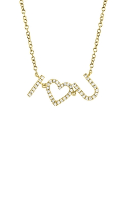 Shy Creation 14k Yellow Gold .12ctw Diamond I Heart U Necklace SC55006234 product image