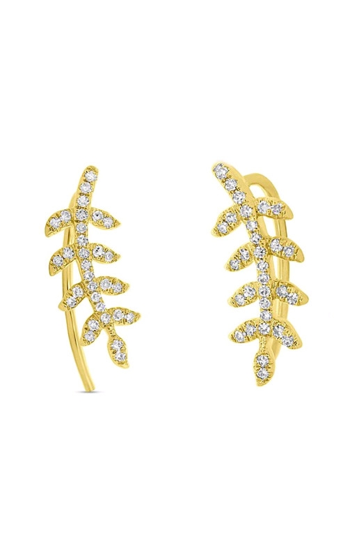 Shy Creation 14k Yellow Gold 0.15ctw Diamond Leaf Climber Earrings SC55006301 product image