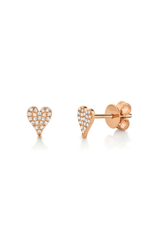 Shy Creation 14k Rose Gold .10ctw Diamond Heart Earrings SC55006719 product image