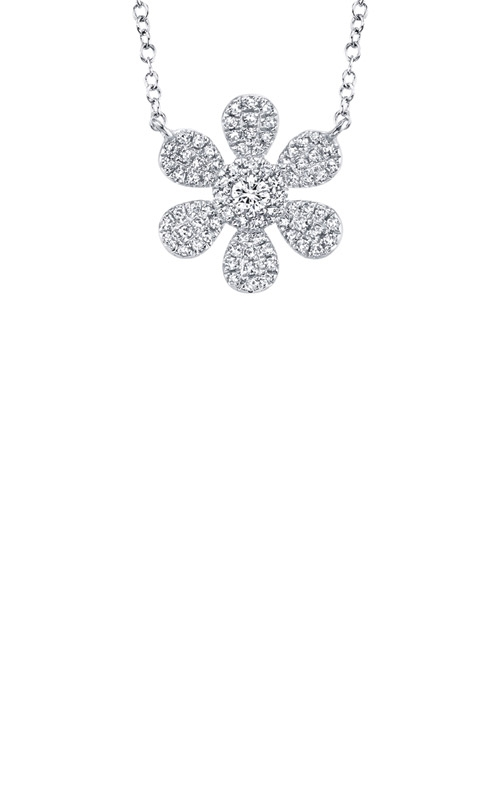 Shy Creation 14k White Gold .24ctw Diamond Flower Necklace SC55007217 product image