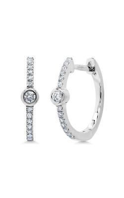 Shy Creation 14k White Gold 0.13ct Diamond Bezel Hoop Earring SC55007494 product image