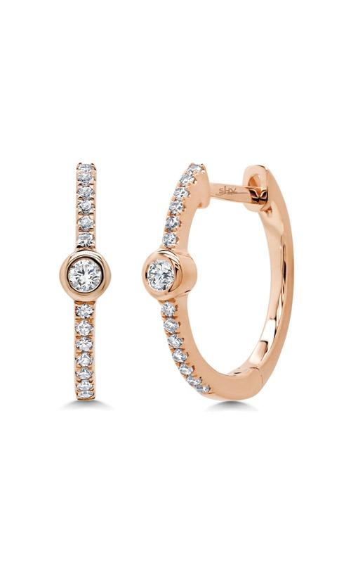 Shy Creation 14k Rose Gold 0.13ct Diamond Bezel Hoop Earring SC55007496 product image