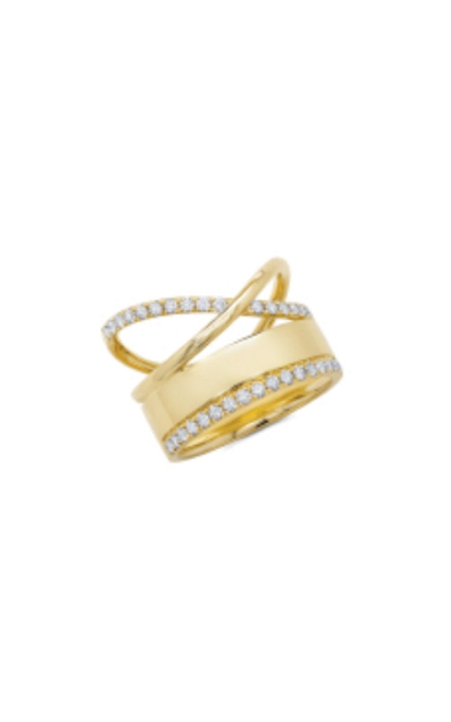 Shy Creation 14k Yellow Gold .49ctw Diamond Cross Ring SC55008569 product image