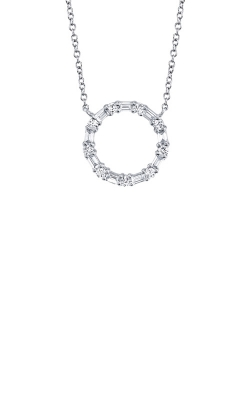Shy Creation 14k White Gold .29ctw Baguette Circle Necklace SC55008725 product image