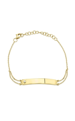 Shy Creation 14k Yellow Gold .02ctw Diamond Bar ID Bracelet SC55008753 product image