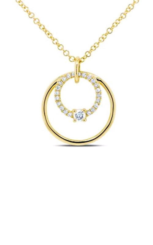 Shy Creation 14k Yellow Gold 0.11ctw Brilliant Double Circle Necklace SC55009040 product image