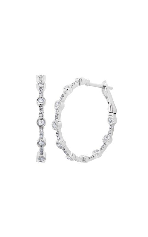 Shy Creation 14k White Gold .49ctw Diamond Hoop Earrings SC55009065 product image