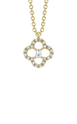 Shy Creation 14k Yellow Gold .11ctw Diamond Clover Necklace SC55009254 product image