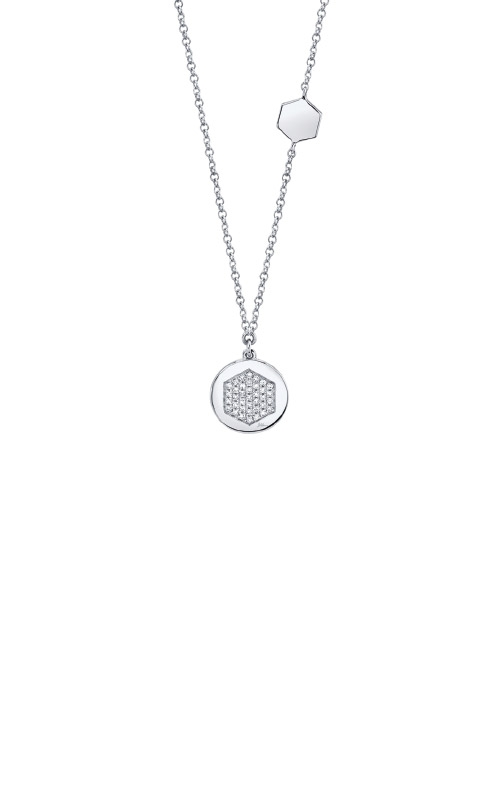 Shy Creation 14k White Gold .09ctw Diamond Disc Necklace SC55009406 product image