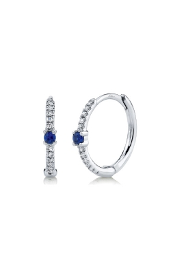 Shy Creation 14k White Gold .07ctw Blue Sapphire And Diamond Huggie Earrings product image
