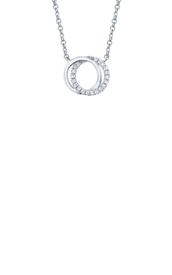 Shy Creation 14k White Gold .07ctw Double Circle Necklace SC55009637 product image