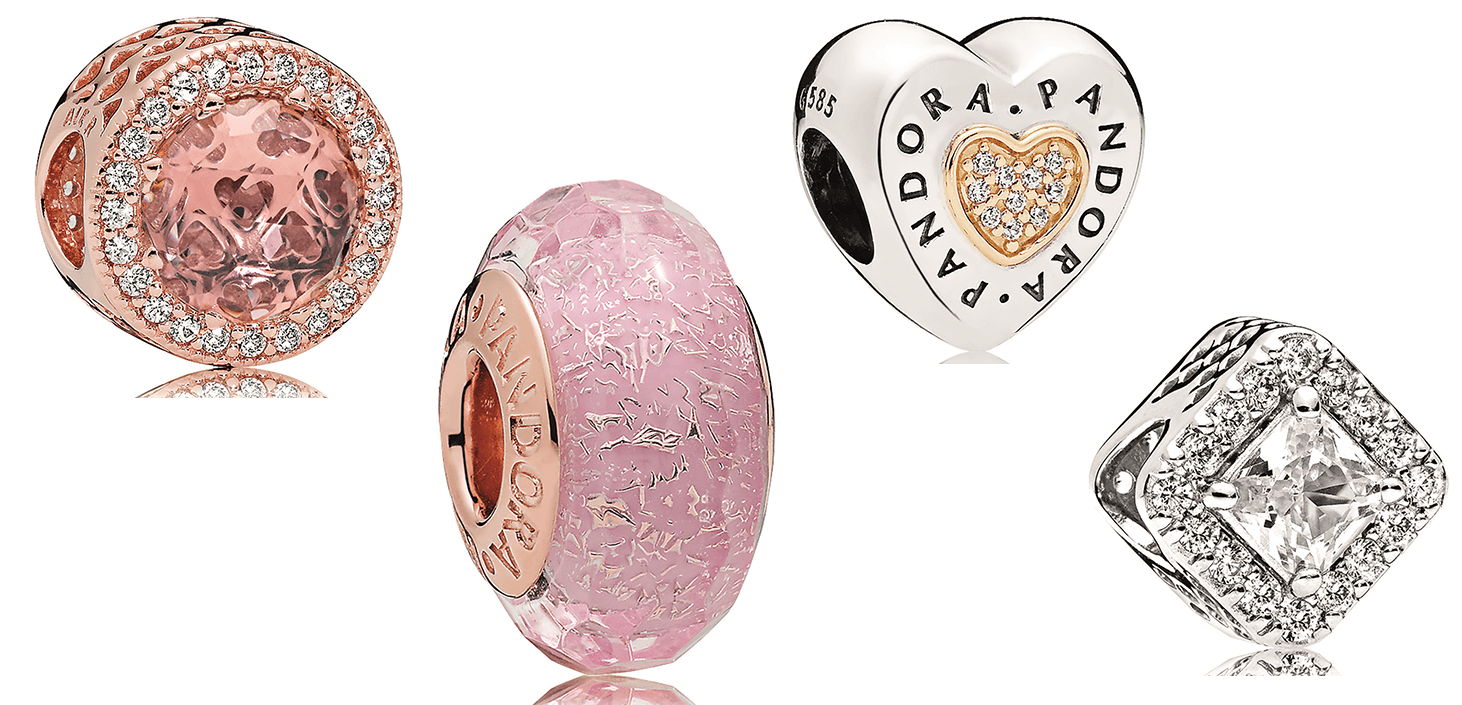 Pandora Rose Blush Radiant Hearts Charm, Rose Pink Glass Charm, Signature Heart Charm, Geometric Radiance Charm Clear, Available at Albert's Diamond Jewelers
