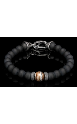 William Henry Clan Black Onyx Beaded Men's Bracelet BB6 MT BR product image