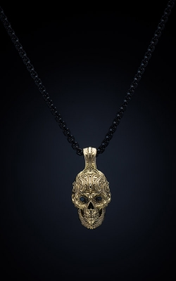 William Henry 18k Yellow Gold Captain Black Skull Necklace FL P3 BD product image